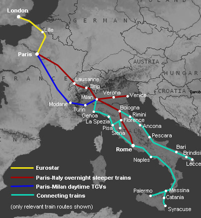 train routes from London to Rome